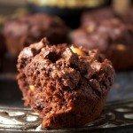 Muffiny brownies z masłem arachidowym