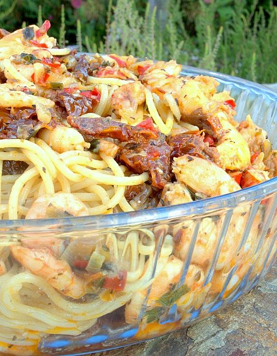 przepis na spaghetti z krewetkami na ostro