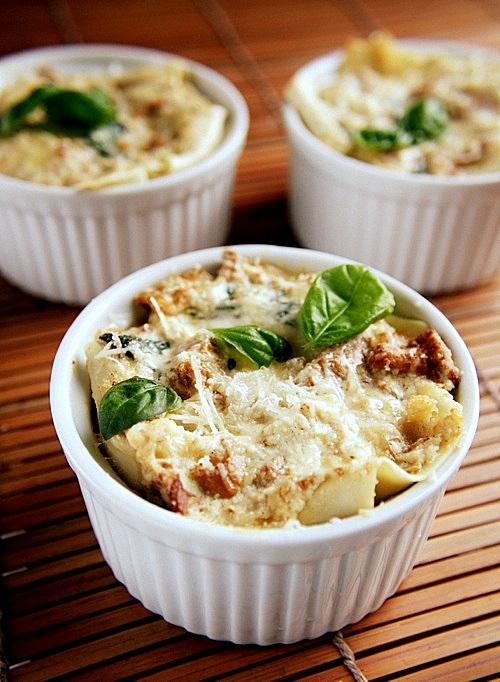 lasagne z kurkami i szpinakiem