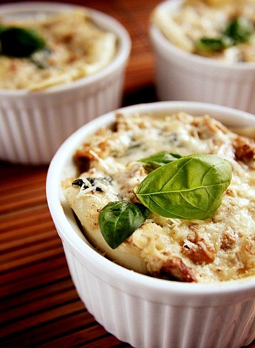 mini lasagne z kurkami