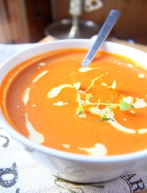 zupa pomidorowa z pomarańczami i szafranem