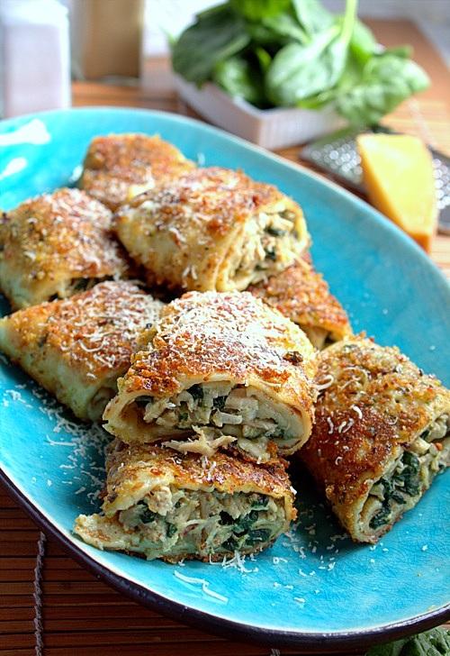 krokiety z kurczakiem mozzarella i szpinakiem