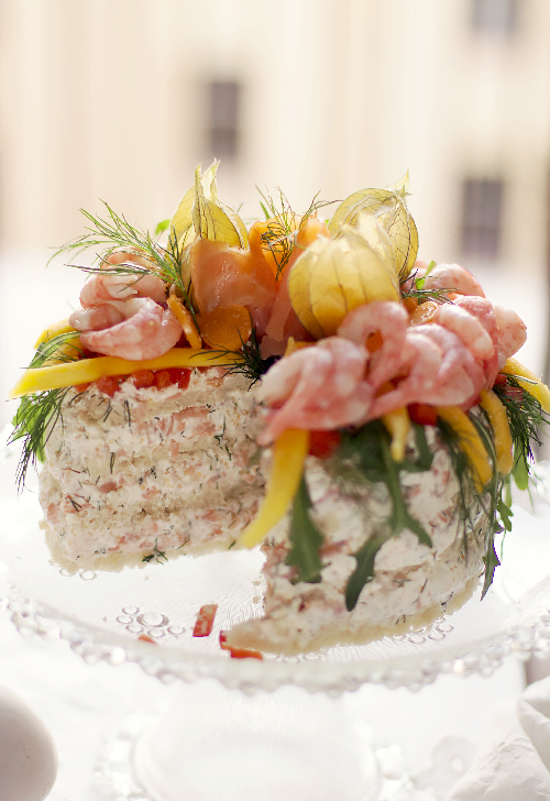 tort krewetkowo łososiowy