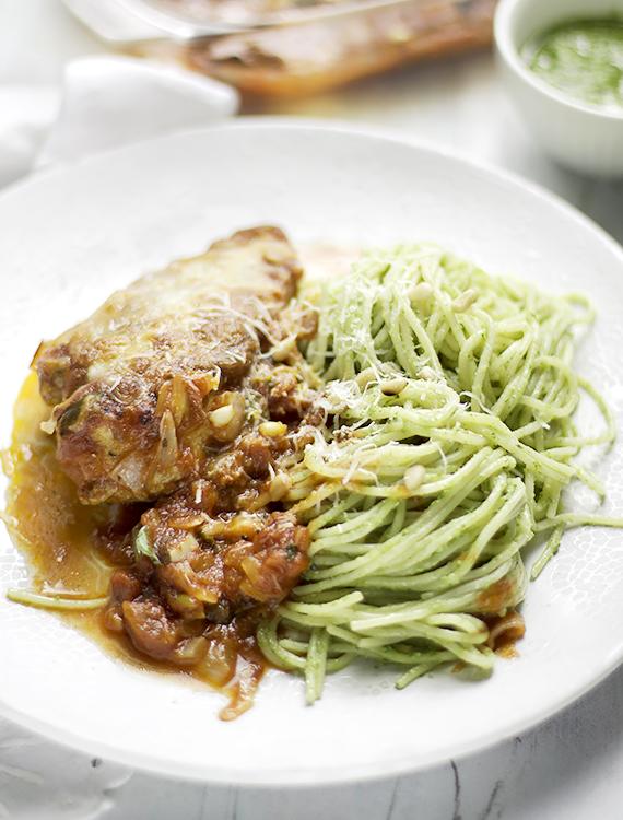 zapiekany kurczak i pesto spaghetti